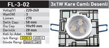 3x1w Kare Camlı Desenli Power Led Spot