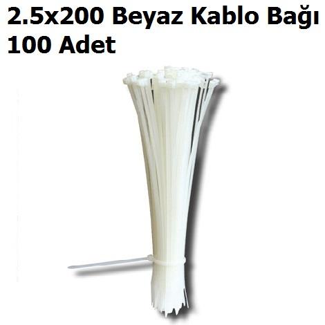2.5x200 Beyaz Kablo Bağı