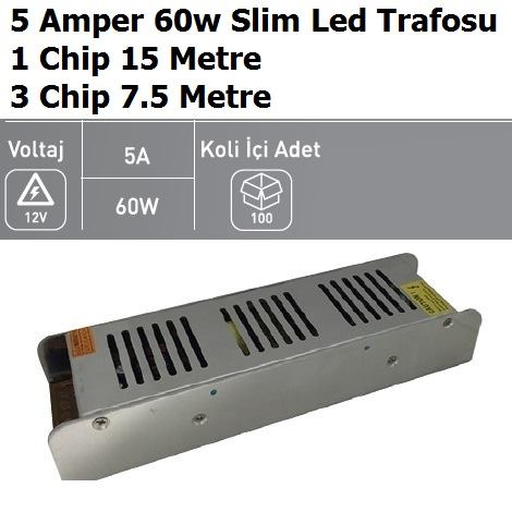 5 Amper 60w Slim Şerit Led Trafosu