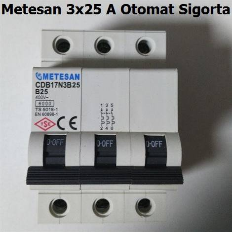Metesan 3x25 Amper Otomat Sigorta