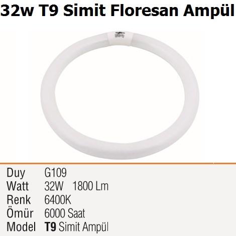 32w T9 Simit Floresan Ampül