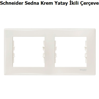Schneider Sedna Krem Yatay İkili Çerçeve