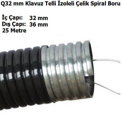 Q32 mm Klavuz Telli İzoleli Çelik Spiral Boru