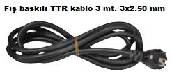 3 Metre Fiş Baskılı 3x2,5 TTR Kablolu